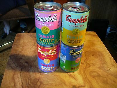 Andy Warhol's Campbell's Tomato Soup Ltd Edition 50 Year (4 can full set) CLEAN