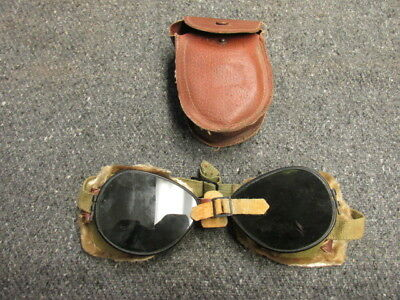 Wwii Us Army Mountain Troops Ski Goggles W/ Case-Original