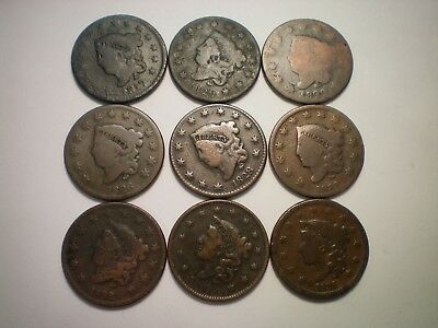 1817. 1820, 1822, 1826, 1828, 1831, 1832, 1836 And 1838 Large Cent  / 9 Coins