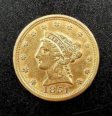 1851 $2.50 Liberty Head gold piece! Nice details on the obverse and reverse!