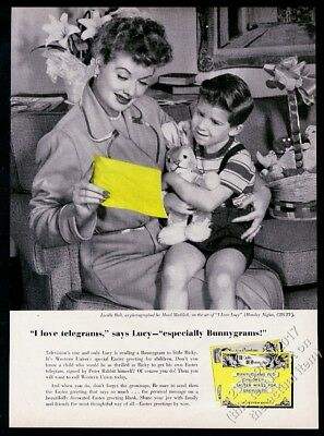 1957 Lucille Ball photo & Little Ricky Western Union Bunnygram vintage print ad