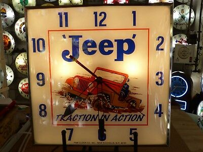 Converted Jeep Lighted Pam Advertising Clock Sign New Automobilia Off Road Auto