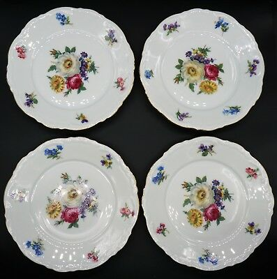 Meissen Floral by Mitterteich Germany Set of Four Bread Plates