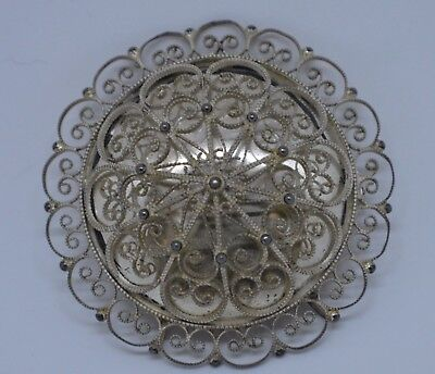 Norwegian 830 Silver Brooch Filigree Bunad Beautiful! Signed Eoe
