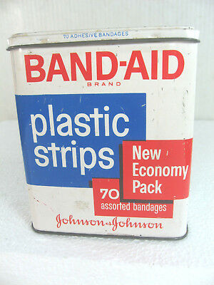 Vintage Band-Aid Plastic Strips Metal Tin Container Made by Johnson & Johnson