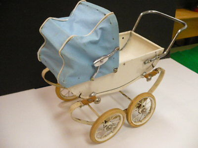 VINTAGE 1950s DOUCET BABY DOLL CARRIAGE PRAM BUGGY > RED , MADE IN FRANCE