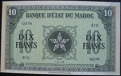 Morocco 1943 10 Francs Note