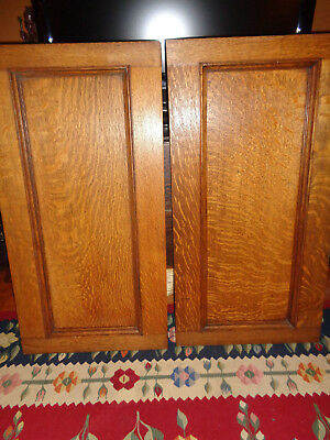 "SUPERB PAIR Antique Tiger Oak Raised Wood Panels Architectural Salvage 38"" by 20"