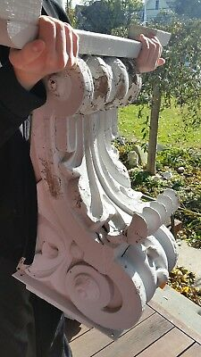 Antique Pair 2 Huge Ornate Carved Corbels New York City Architectural Salvage