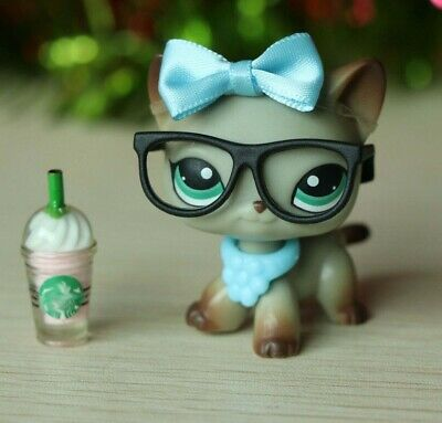 Littlest Pet Shop LPS Short Hair Cat #391 Grey Kitten With Accessories Rare Toy