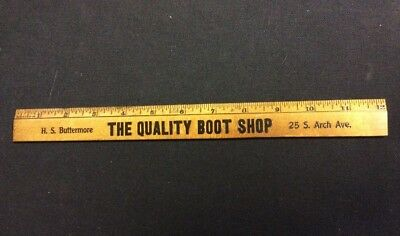 Vintage 1 Foot Ruler H. S. Buttermore The Quality Boot Shop Akron Ohio