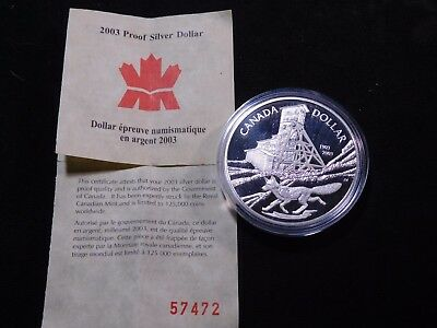INV #W25 Canada 2003 Sterling Silver Dollar Proof w/ COA