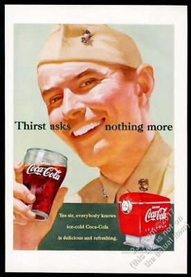 1951 Coke USMC US Marine smiling soldier with Coca Cola glass vintage print ad