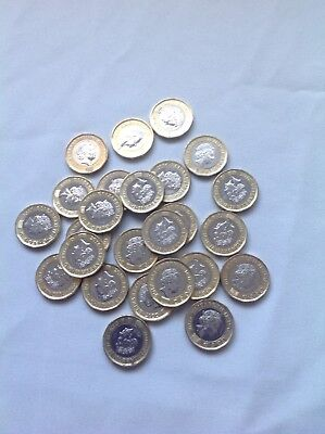 British English Left Over vacation holiday money new one pound coins, 25 pounds
