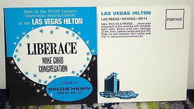Vintage Liberace Fold-Out Postcard from the Las Vegas Hilton, Unused