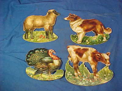 4-1920s MOTHERS BREAD Diecut STAND UP Toy ANIMALS Figural TRADE CARDS