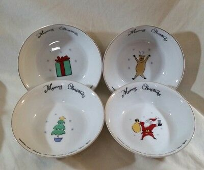 NEW Merry Brite 4 Christmas Soup/Cereal Bowls Santa, Reindeer, Gift & Tree 61/2""