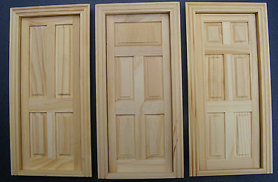1:12 Scale Natural Finish Tumdee Dolls House Miniature Internal Wooden Door