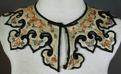Antique Chinese Woven Silk Gold Couching Embroidery Butterfly Cloud Collar Vtg