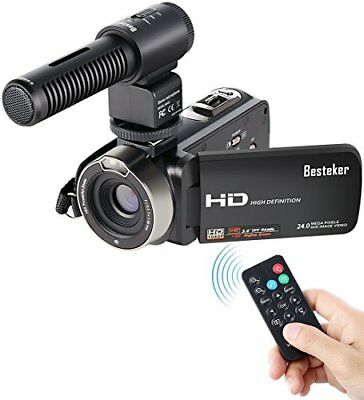Camcorder, Besteker FHD 1080p Camcorders with External Microphone and Remote