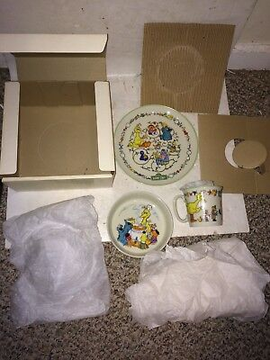 Vintage 70's 1976 MIB Sesame Street Gorham Fine China Muppets 3 Piece Childs Set