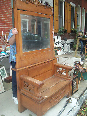Antique HEAVY Solid Oak Hall Bench With Hinged Seat And Mirror
