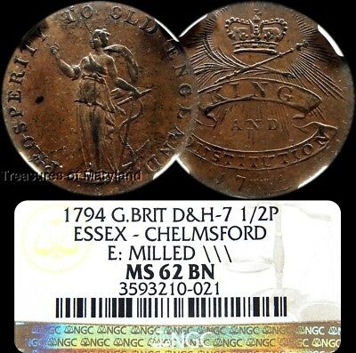 "NGC MS62 1794 ""ESSEX-CHELMSFORD"" British Halfpenny! (NGC Pop 1) sku #0021"