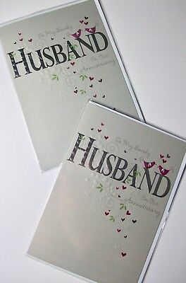 HUSBAND ANNIVERSARY CARDS X 12, LARGER SIZE, JUST 25p, WRAPPED, FOILED (B152