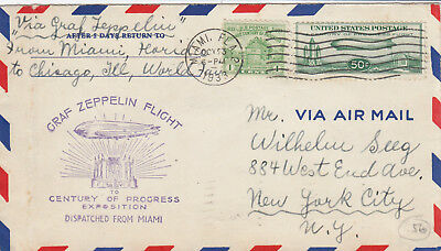 ZEPPELIN 1933 Chicagofahrt Miami - Chicago Brief 50 c Zeppelin