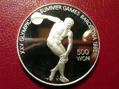 KOREA 500 Won 1989 Silber PP Proof Olympiade Barcelona 1992 - Diskuswerfer