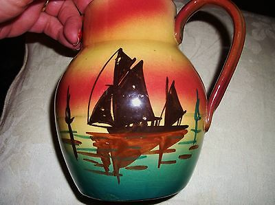 Old Longpark ? Motto Devon Ware Jug Rich Blush Bold Colours Sunset Boat 5.5""