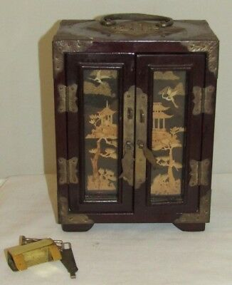 Vintage Japanese Wood And Brass Jewelry Trunk Style Box W/ Carved Cork in Doors