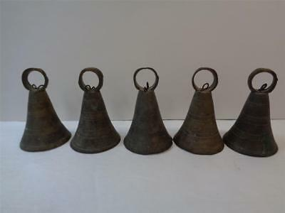 5 Vintage Bronse Metal Bells of SARNA INDIA Hand Made each one is 2 inch Tall