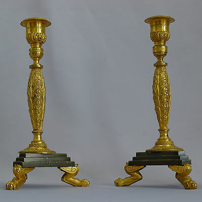 Beautiful French pair of gilded and patinated Bronze candlesticks Circa 1830
