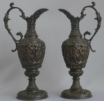Beautiful Pair of Italian Patinated Bronze vases with lovely relief, excellent c