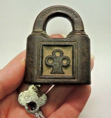 Antique Brass Yale & Towne Mfg Co Padlock Vintage Lock & Key Lever Padlock WORKS