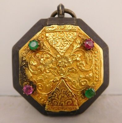 1790s ASIAN STERLING SILVER 24K GOLD NIELLO RUBY EMERALD BETEL NUT BETELNUT BOX
