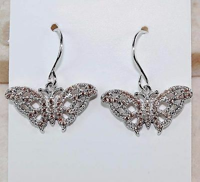 Padparadscha Sapphire 925 Solid Sterling Silver Butterfly Earrings Jewelry, T7-3