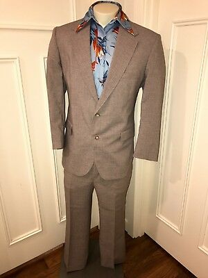 Vtg 70s 80s FARAH Two Piece GRAY Striped Mod Suit Mens 44 Jacket Coat 38 pants