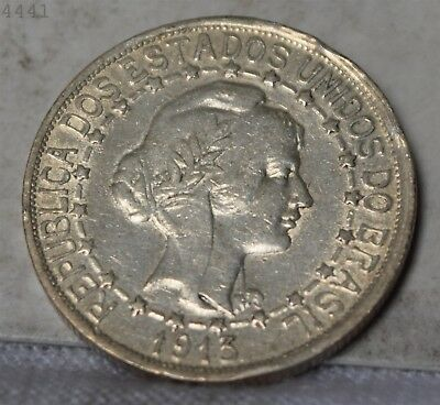 """1913 *Silver* Brazil 1000 Reis """"AU"""" *Free S/H After 1st Item*"""