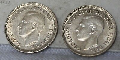 "1943 & 1952 Lot of 2 *Silver* Australia 3 Pence ""UNC"" *Free S/H After 1st Item*"