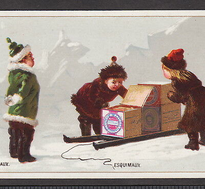 Eskimo Sled 1800's Arctic Esquimaux Huntley & Palmers Biscuits Advertising Card