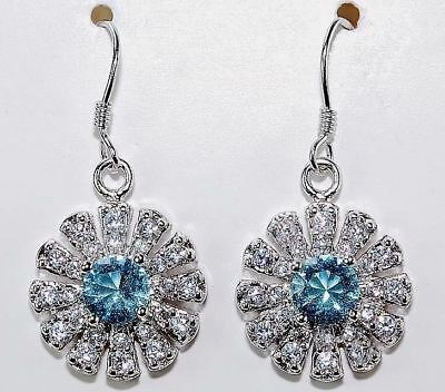 3CT Aquamarine & White Topaz 925 Solid Sterling Silver Earrings Jewelry, T7-4