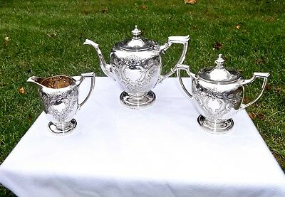 Reed & Barton Pointed Antique Hand Chased Sterling Silver 3 Pc. Tea Service