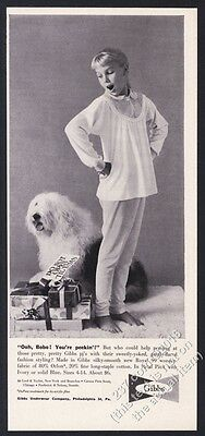 1959 Old English Sheepdog photo cute Gibbs Pajamas Xmas vintage print ad