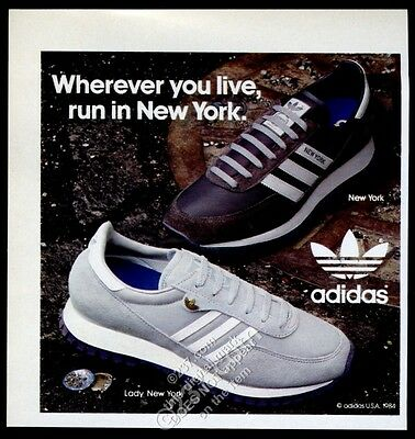 1984 Adidas New York & Lady New York shoes photo vintage print ad