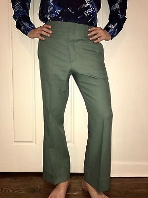 Vtg 60s 70s Sears Roebuck Mens 33 29 Green POLYESTER Mod Disco Prom Suit pants