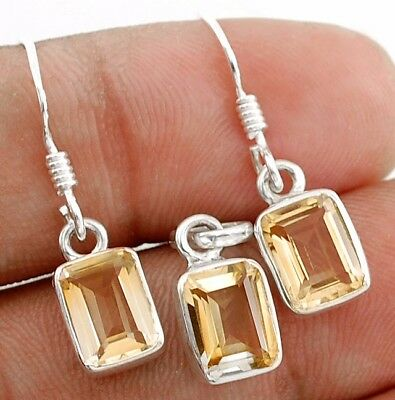 4CT  Citrine 925 Solid Sterling Silver Earrings Pendant Set Jewelry