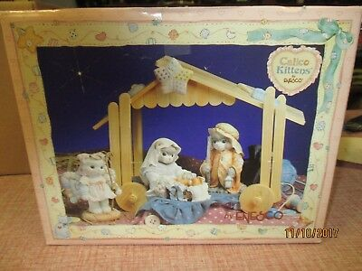 Enesco 1993 Calico Kittens Nativity Set
