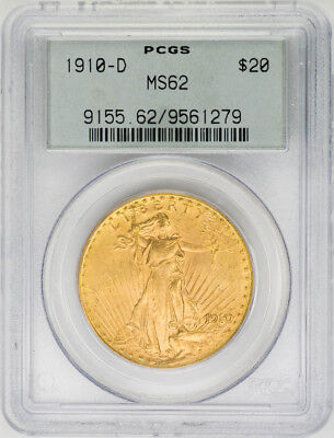 1910-D $20 St. Gaudens, Double Eagle - PCGS MS62 Old Holder - US Rare Coin